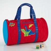 Stephen Joseph Red Dino Embroidered Duffel Bag in Red