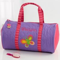 Stephen Joseph® Butterfly Embroidered Duffel Bag in Purple