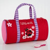 Stephen Joseph Ladybug Embroidered Duffel Bag in Red