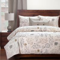 SIScovers® Modern Farmhouse Postscript California King Duvet Cover Set in Black/Off White