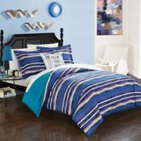 Chic Home Rodel Full 8-Piece Reversible Duvet Set in Blue