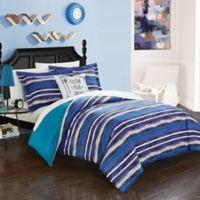 Chic Home Rodel 4-Piece Full Reversible Duvet Cover Set in Blue