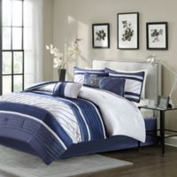 Madison Park Blaire 7-Piece King Comforter Set in Navy