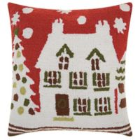 Mina Victory Hook Knit Home Square Throw Pillow in Red/White