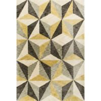 KAS Mission Geometric 5-Foot x 7-Foot Shag Area Rug in Ivory