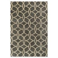 KAS Mission Trellis Circles 5-Foot x 7-Foot Shag Area Rug in Grey