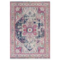 KAS Reina Vintage Medallion 3-Foot 3-Inch x 4-Foot 11-Inch Accent Rug in Ivory/Navy