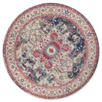 KAS Reina Vintage Medallion 7-Foot 10-Inch Round Area Rug in Ivory/Navy
