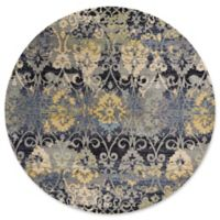 KAS Reina Damask 7-Foot 10-Inch Round Area Rug in Grey