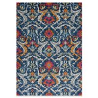 KAS Reina Floral Damask 3-Foot 3-Inch x 4-Foot 11-Inch Accent Rug in Navy