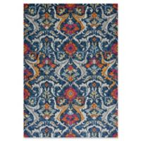 KAS Reina Floral Damask 7-Foot 10-Inch x 11-Foot 2-Inch Area Rug in Navy