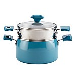 Rachael Ray™ Cityscapes Porcelain Enamel 3 qt. Steamer Set in Turquoise