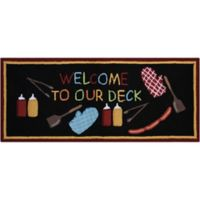 """Nourison Everywhere """"Welcome To Our Deck"""" 1-Foot 10-Inch x 4-Foot 6-Inch Accent Rug in Black"""