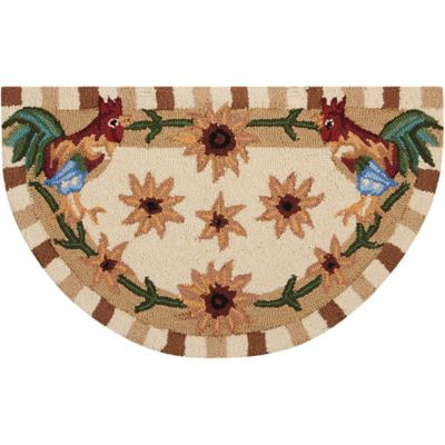 Nourison Everywhere 32 Inch X 19 Inch Roosters Kitchen Rug In Beige