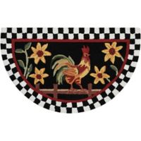 Nourison Everywhere 32-Inch x 19-Inch Half Moon Rooster/Floral Kitchen Mat in Black