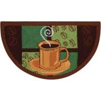 Nourison Everywhere 32-Inch x 19-Inch Half- Moon Coffee Kitchen Mat in Brown