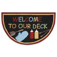 """Nourison Everywhere """"Welcome To Our Deck"""" 2-Foot 8-Inch x 1-Foot 7-Inch Accent Rug in Black"""