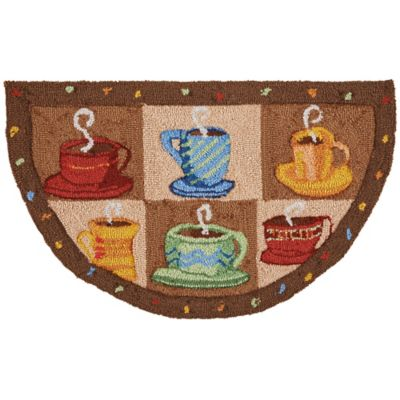 Nourison Everywhere 32 Inch X 19 Inch Coffee Cups Kitchen Rug In Brown