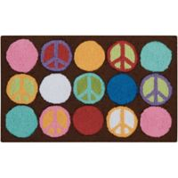 Nourison Everywhere 18-Inch x 30-Inch Peace Sign Kitchen Rug in Brown