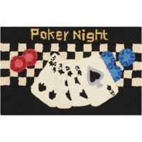 Nourison Everywhere 18-Inch x 30-Inch Poker Night Kitchen Rug in Black
