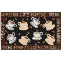 Nourison Everywhere Coffee Cups 1-Foot 8-Inch x 2-Foot 9-Inch Accent Rug in Black