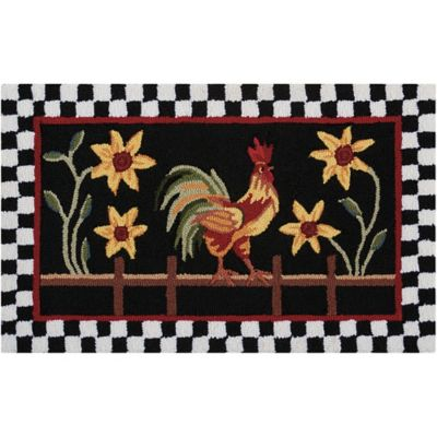 Nourison Everywhere 20 Inch X 33 Inch Rooster/Floral Kitchen Mat In Black