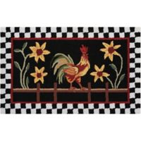 Nourison Everywhere 20-Inch x 33-Inch Rooster/Floral Kitchen Mat in Black