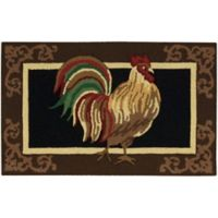 Nourison Everywhere 20-Inch x 33-Inch Rooster Kitchen Mat in Black