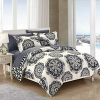 Chic Home Majorca 3-Piece Reversible Full/Queen Duvet Cover Set in Black
