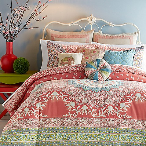 image of Jessica Simpson Amrita Medallion Comforter Set in Coral