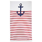 Nautical Stripe Beach Towel in Red/Navy