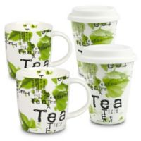 """Konitz """"Tea"""" Collage To Stay and To Go Mugs (Set of 4)"""
