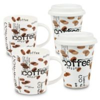 "Konitz ""Coffee"" Collage To Stay and To Go Mugs (Set of 4)"