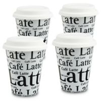 Konitz Café Latte Writing Travel Mugs in White (Set of 4)
