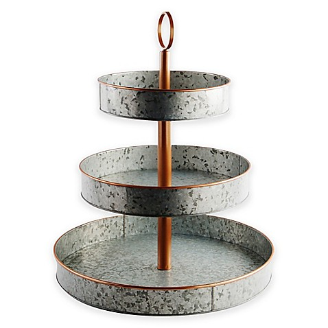 Galvanized 3 Tier Serving Tray Stand