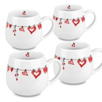 Konitz Ceramic Hearts Snuggle Mugs in White/Red (Set of 4)