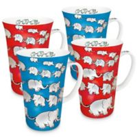 Konitz Chain of Elephants Mega Mugs in Red/Blue (Set of 4)