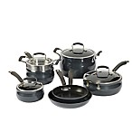 Epicurious Translucent Aluminum Nonstick 11-Piece Cookware Set in Caviar