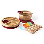Avanchy Bamboo + Silicone Baby Bowl and Plate Set with Spoons in Magenta
