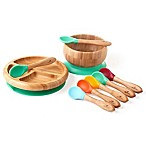 Avanchy Bamboo + Silicone Baby Bowl and Plate Set with Spoons in Green
