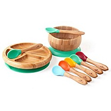 avanchy bamboo silicone baby bowl and plate set with spoons