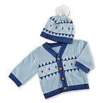 Baby Aspen® 2-Piece Fair Isle Cardigan and Hat Set in Blue