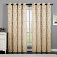 VCNY Home Calibra Jacquard 84-Inch Grommet Top Window Curtain Panel in Gold