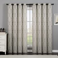 VCNY Home Calibra Jacquard 84-Inch Grommet Top Window Curtain Panel in Grey