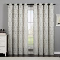 VCNY Home Calibra Jacquard 84-Inch Grommet Top Window Curtain Panel in Taupe