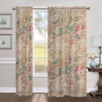 Laural Home Birds & Blossoms 84-Inch Sheer Rod Pocket Window Curtain Panel in Beige/Multi