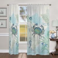 Laural Home Blue Crabs 84-Inch Sheer Rod Pocket Window Curtain Panel