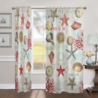 Laural Home Dream Beach Shells 84-Inch Sheer Rod Pocket Window Curtain Panel