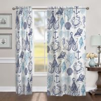 Laural Home Navy Coastal Creatures 84-Inch Sheer Rod Pocket Window Curtain Panel