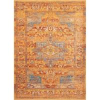 "Nourison Cambria 3'11"" x 5'11"" Machine Woven Area Rug in Blue/Russet"